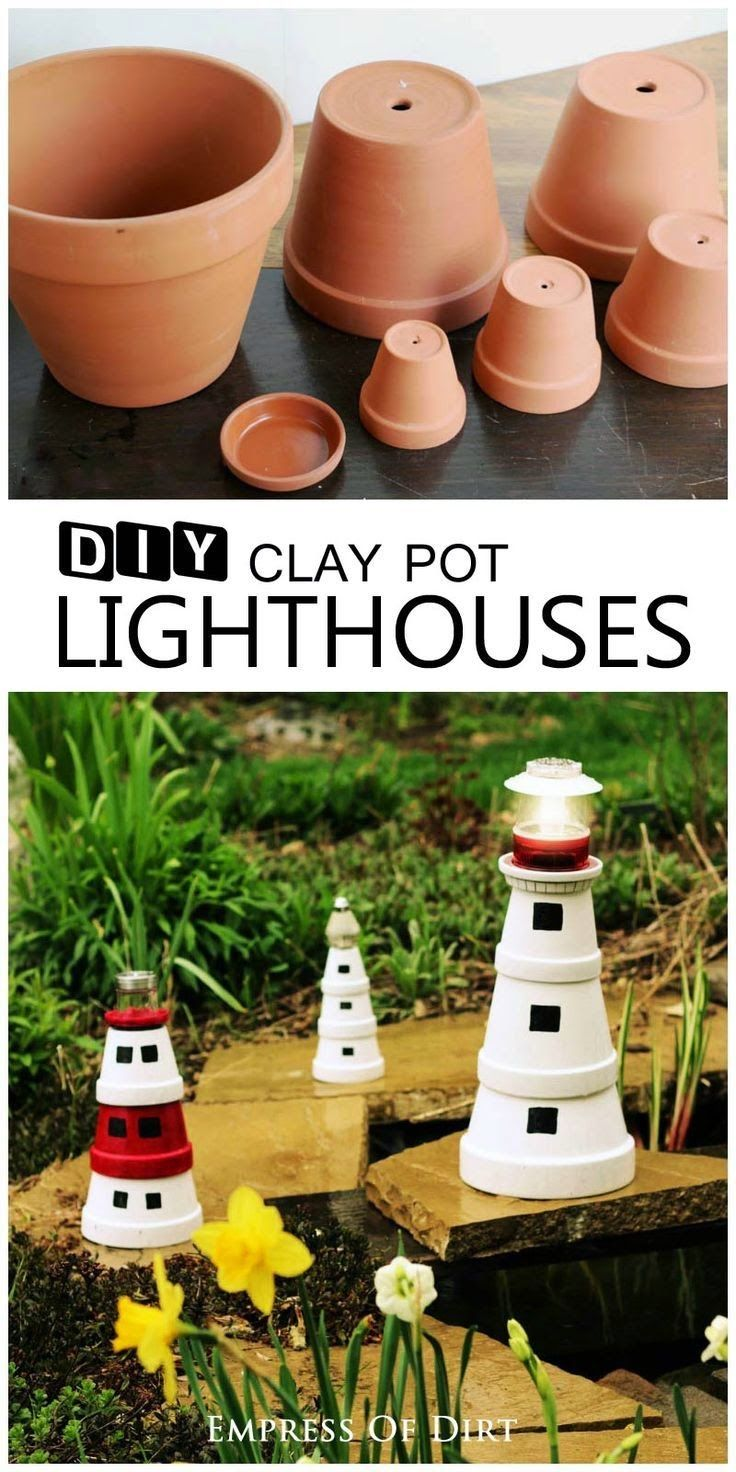 Add a magical touch to your garden with this sweet garden art lighthouse made from clay pots. It's a great project to do with kids. Add a solar lamp to the top to shine brightly in the evening garden.