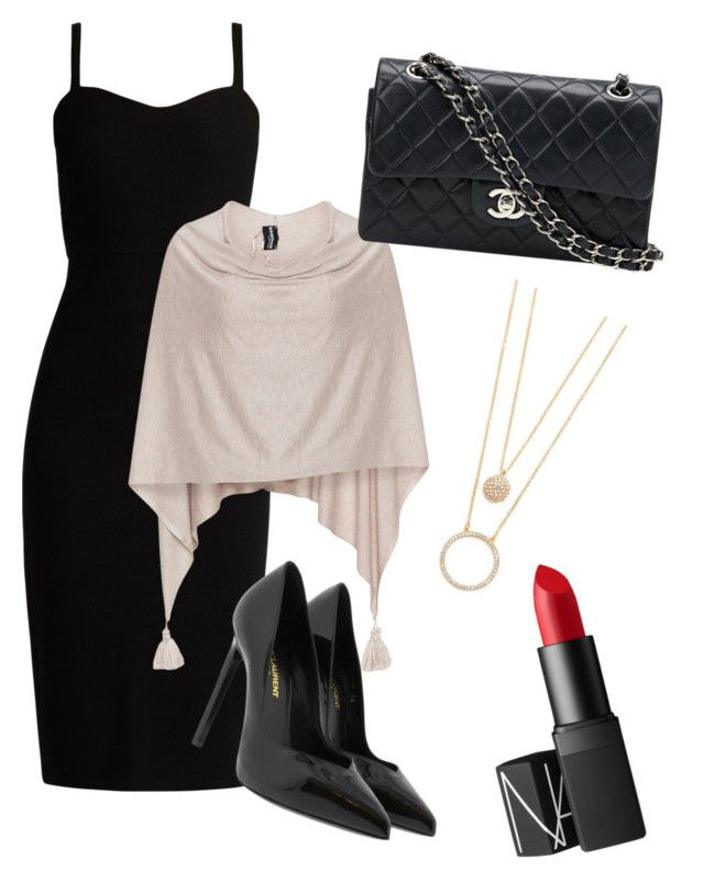 """""""Night out"""" by hailey-ann-2 ❤ liked on Polyvore featuring MaxMara, Samoon, Yves Saint Laurent, Chanel, NARS Cosmetics and Kate Spade"""