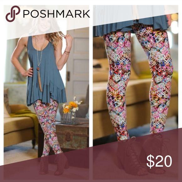 Multi-colored Aztec Print Leggings Brushed knit patterned leggings. One size fits 2-12. Infinity Raine Pants Leggings