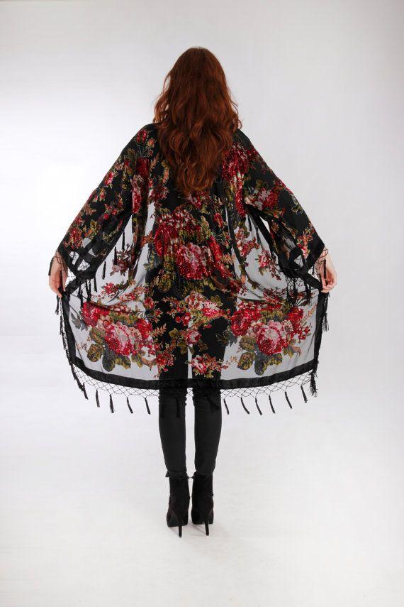 Black Kimono Gypsy Silk Burnout Women Boho Fringe by HippieMassa