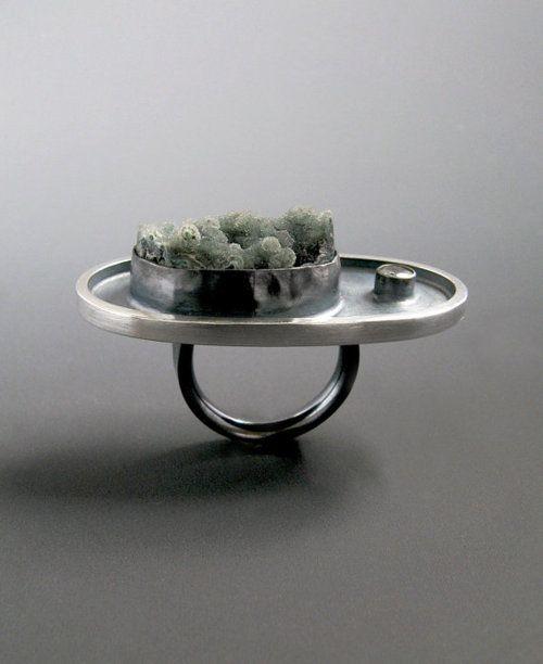WINNIE CHAI: Druzy Rings, Winniechai, Smoke Druzy, Winnie Chai, Sterling Silver, Sapphire Sculpture, Natural Druzy, White Sapphire, Sculpture Rings