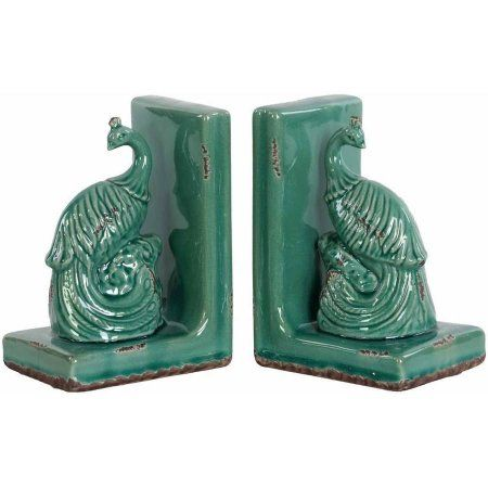 Urban Trends Collection: Ceramic Peacock Bookend, Gloss Finish, Blue