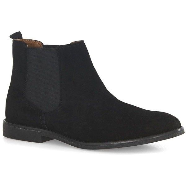 TOPMAN Black Faux Suede Chelsea Boots (455 NOK) ❤ liked on Polyvore featuring men's fashion, men's shoes, men's boots, black, mens black shoes, mens black chelsea boots, mens black boots and topman mens shoes