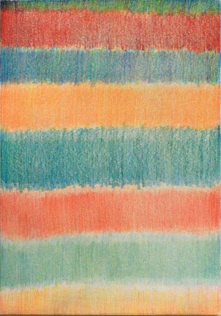 Eva Galonska: ohne Titel (bunte Streifen). #Buntstift auf Papier #Streifen #quer #Horizont #abstrakt #evagalonska #startyourart #Zeichnung www.startyourart.de