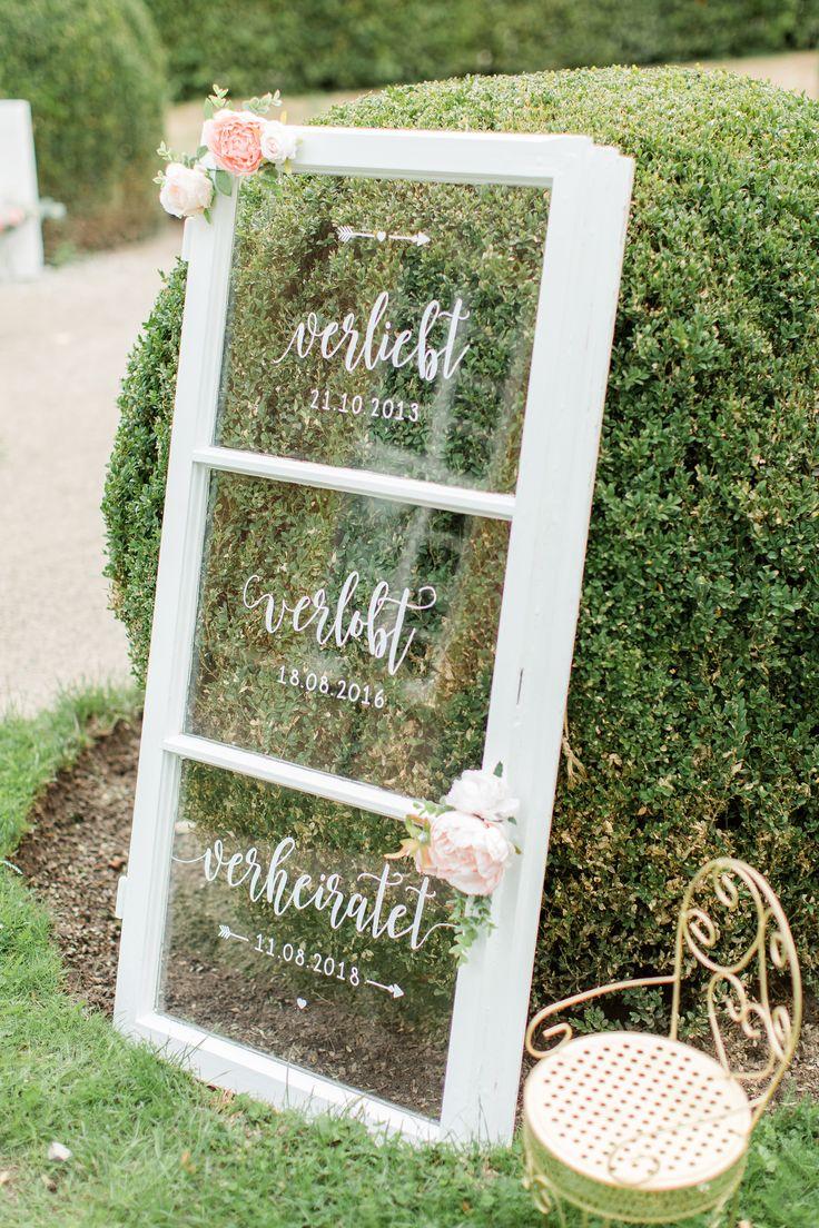 Unser Verliebt | Verlobt | Verheiratet Fenster. Auch das habe ich mit Kunstblume…