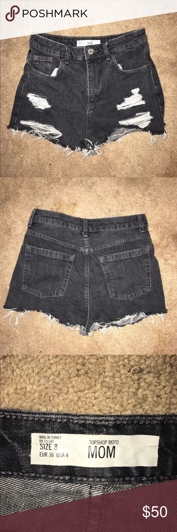 "TOPSHOP HIGH WAIST DENIM SHORTS TOPSHOP HIGH WAIST DENIM SHORTS in a washed black color with ripped detailing. These are a ""cut off"" style and are in EXCELLENT CONDITION! WORN ONCE, WE'RE TOO SMALL ON ME!! They said a 4, but they are actually smaller. No rips, tears, or holes located anywhere on the shorts! I included a picture showing that it is actually around a size 25. The inseam is 2 inches and the rise is 11. HAPPY SHOPPING! ***WILL SELL FOR LESS ON Ⓜ️ERCARI*** Topshop Shorts Jean…"