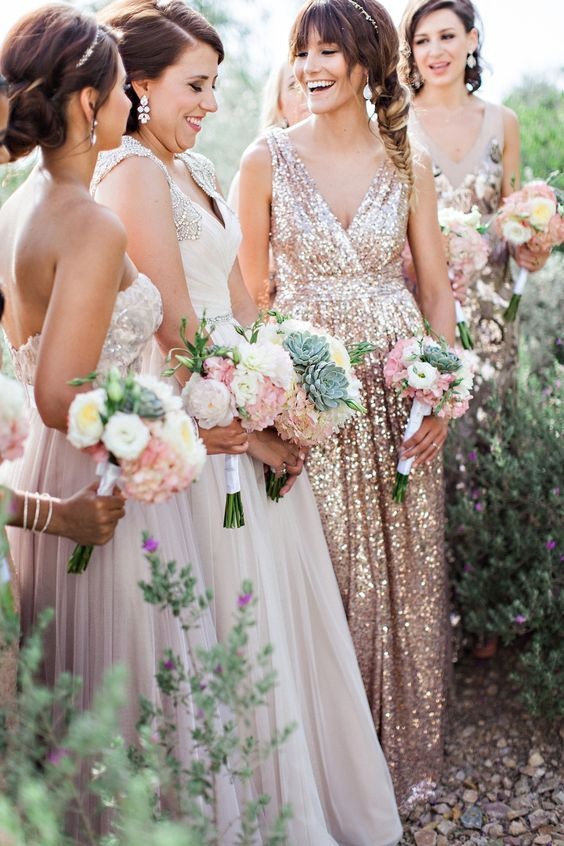 Maids in blush and sequins via Rent The Runway / http://www.deerpearlflowers.com/2015-wedding-trends-sequined-metallic-bridesmaid-dresses/