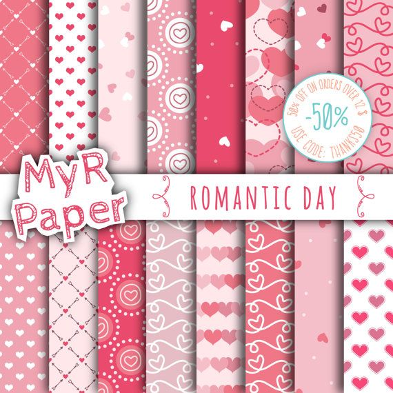 "w/ #love by @myrpaper on #Etsy #digiscrap #handmade #crafts #digitalscrapbooking #etsymntt #partyideas  Love digital paper: ""ROMANTIC DAY"" pack for valentine's day with sweets #hearts in pink #patterns, coral and strawberry red, valentine  50% OFF ON ORDERS OVER 12 $ (OR NEARLY... #digitalpaper #scrapbooking #design #graphic #romantic #valentine #romance #12x12 ➡️ http://jto.li/52WXf"