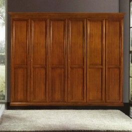 6 doors #woodenwardrobe with 2 internal flush doors. 3 internal compartments divided by 1 shelve with 2 clothes hanger. cm 310x67, h 250 #solidwoodfurniture