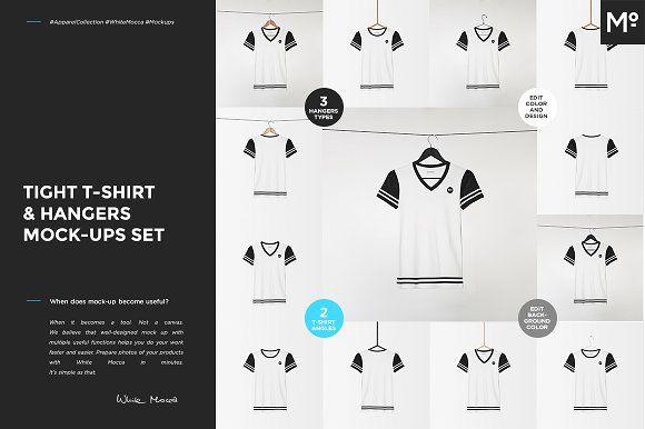 Tight T-shirt & Hangers Mock-ups Set by Mocca2Go/mesmeriseme on @creativemarket