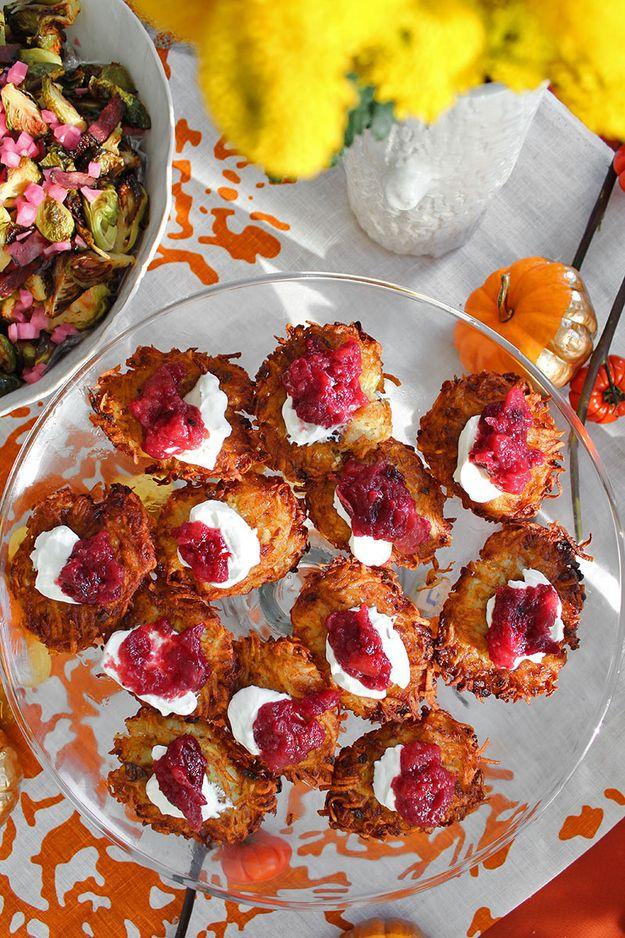 Potato Latkes with Cranberry Applesauce / 29 Miraculous Foods To Make For Hanukkah (via BuzzFeed)