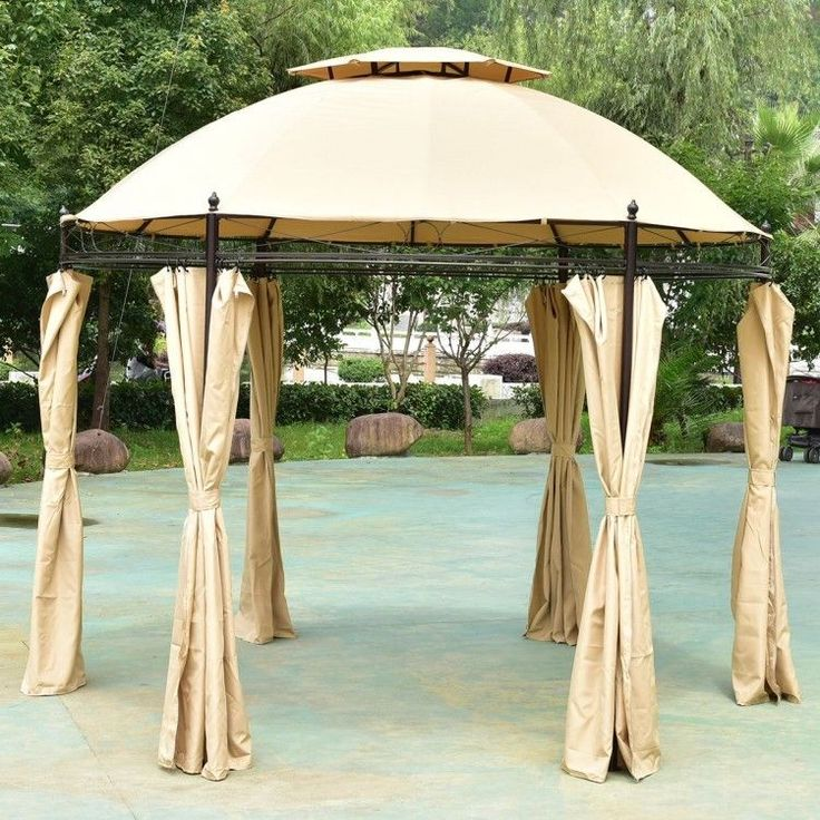 10x10 #Outdoor #Gazebos  #Patio #Canopy #Round #Tent #Shelter w/ #Curtains  2-Tier #Roof #ShoppingOnlineDeals #DanAnnStore #Buyablepins #Follow #Buy #ebay