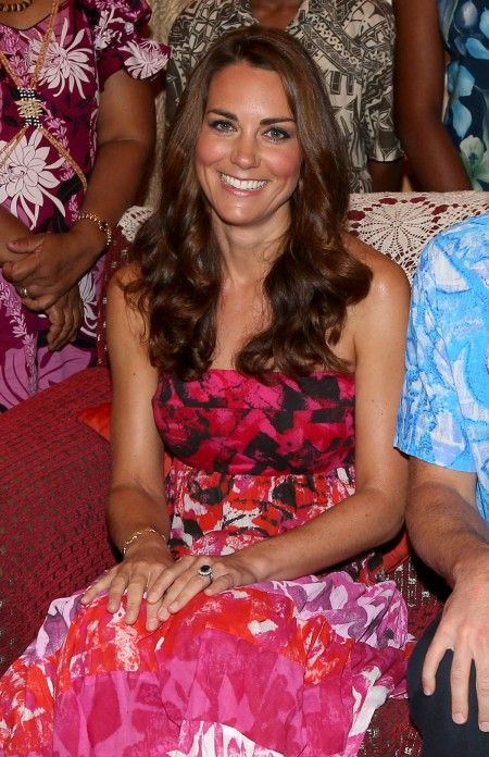 Kate Middleton in Batik Strapless Dress at the Solomon Islands Feast