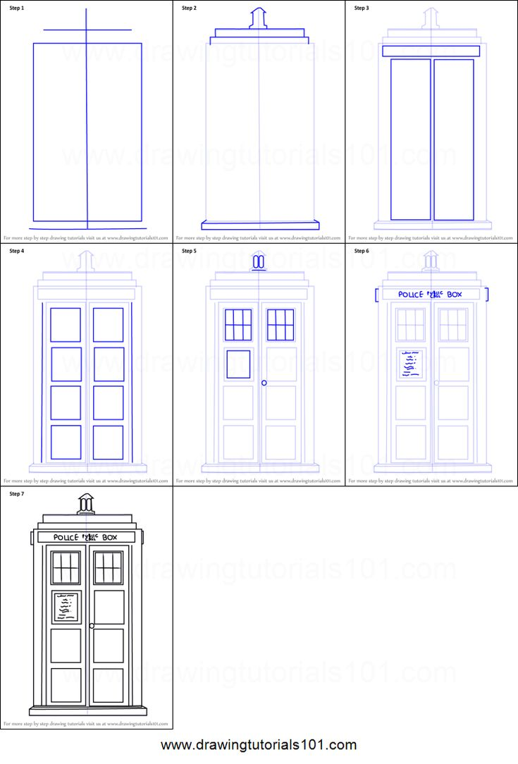 How to Draw Tardis from Doctor Who printable step by step drawing sheet : DrawingTutorials101.com