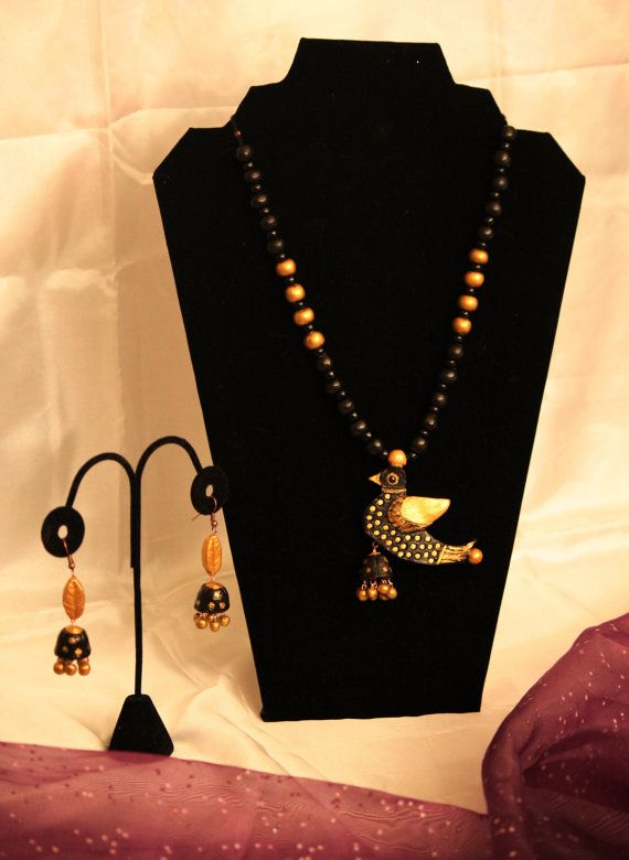 Black Bird Terracotta Necklace with Jhumkas by Bagoholics on Etsy