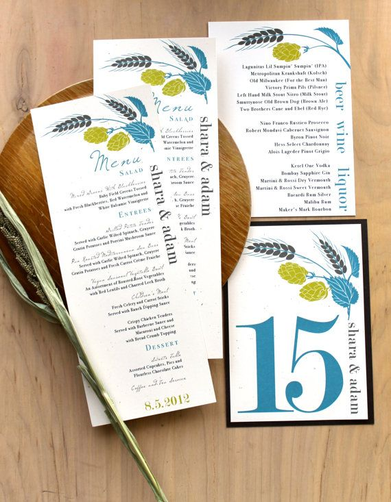 Beer Wedding Menu, Beer Wedding Favors, Brewery Wedding Table Numbers, Place Cards, Reception Signs, Poster - Hops Love Stationery Deposit
