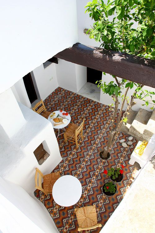 a lovely courtyard in greece