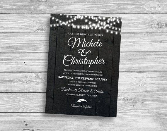 Rustieke bruiloft uitnodiging met Vintage door PinkysPartyDesigns
