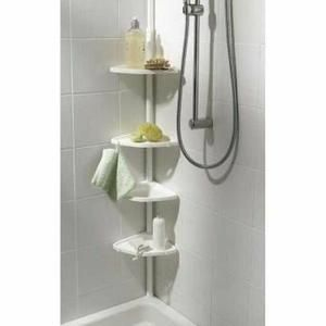 Etagère d'angle de douche télescopique -   Etagère d'angle de douche télescopique 4 tablettes.    Sans clous, ni vis, elle s'installe en un clin d'oeil grâce à son système d… Voir la présentation