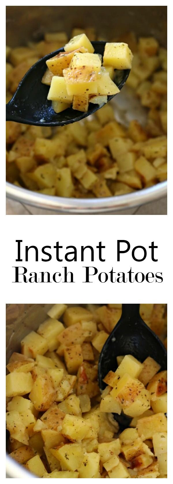 Instant Pot Ranch Potatoes–the easiest and fastest potatoes ever! This side dish of cubed yellow potatoes with ranch dressing seasoning and a little bit of butter couldn't be easier to make but these potatoes will be eaten in no time. The perfect side dish to any meal. #instantpot