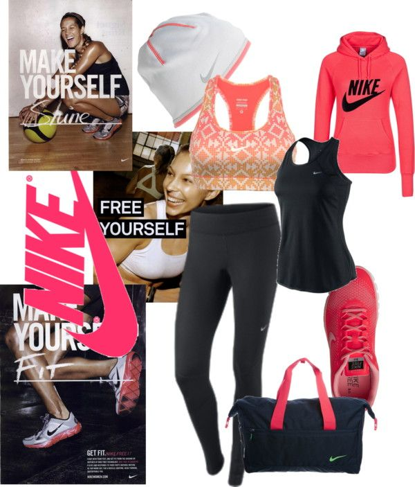 """""""Nike Dream"""" by aclothes on Polyvore http://www.uksportsoutdoors.com/product/ronhill-womens-aspiration-contour-running-capri-blackrose-size-12/"""