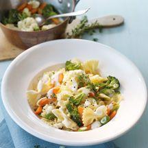 Farfalle mit Gemüse-Frischkäse-Sauce