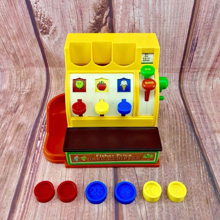 Fisher Price Cash Register #926 1974 Vintage kids toy role play shop retail till