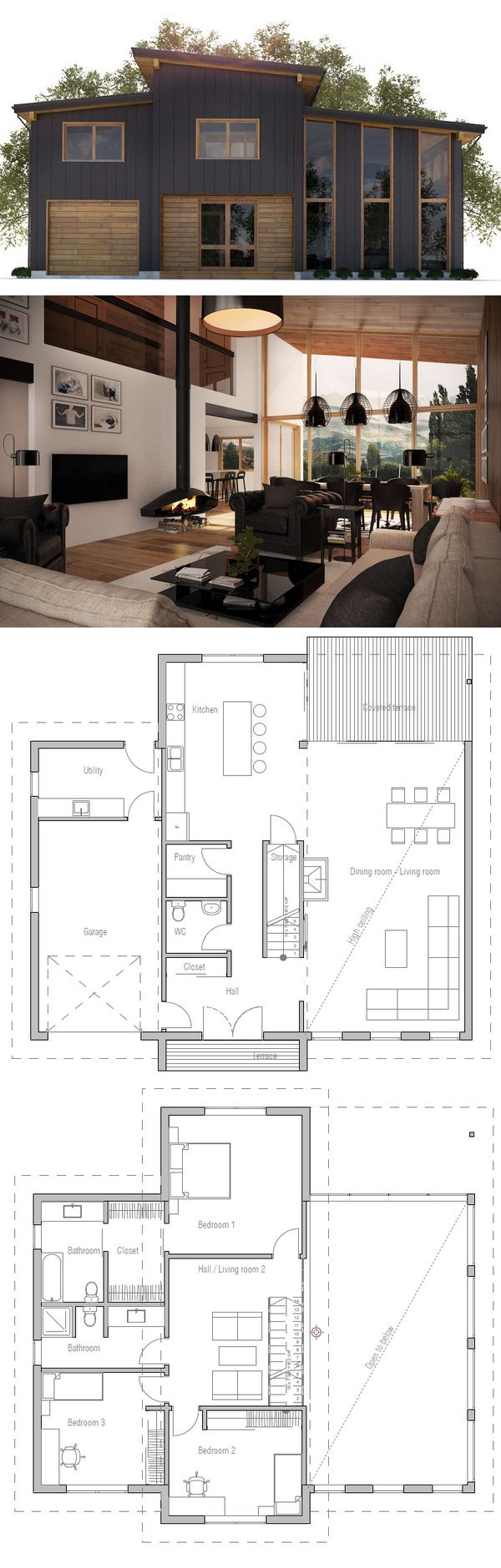 1000+ ideas about Small Modern House Plans on Pinterest Small ... - ^