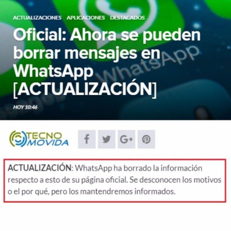 Esta mañana lo publicamos en @tecnomovida .com PERO ahora whatsapp parece quiere echarlo para atrás.. pendientes a nuestros avances.. http://ift.tt/2tfiiUM