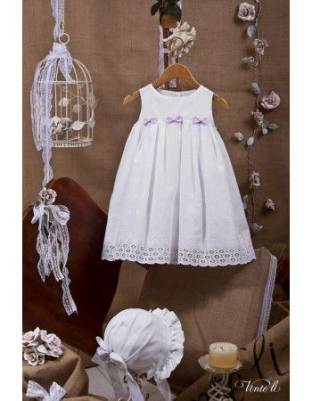 Χειροποίητο Βαπτιστικό φορεματάκι Vinte li με μωβ φιογκάκια