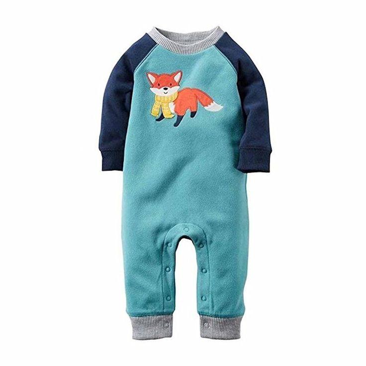 Carter's Baby Boy L/S Fleece 1-Piece Fox Jumpsuit, Multi/Blues #babyfleeceprojects
