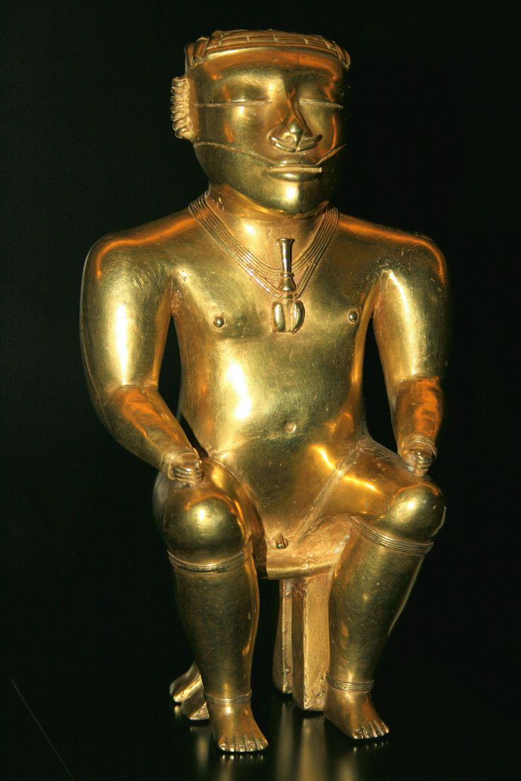 Golden statuette from the 'Quimbaya Treasure', a collection of 200 golden objects (500-1000 AD) given to Spain as a gift by the Colombian government in 1893. This particular artifact is thought to date to between 200 and 1000 AD.