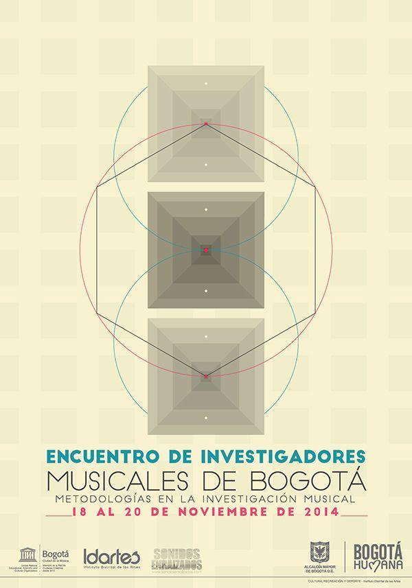 Afiche Encuentro de Investigadores Musicales de Bogotá. Diseño: Ferney Rodríguez. Bogotá, 2014.