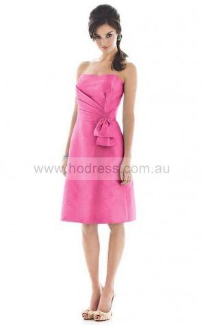 Taffeta Strapless Natural Sheath Knee-length Bridesmaid Dresses 0740397