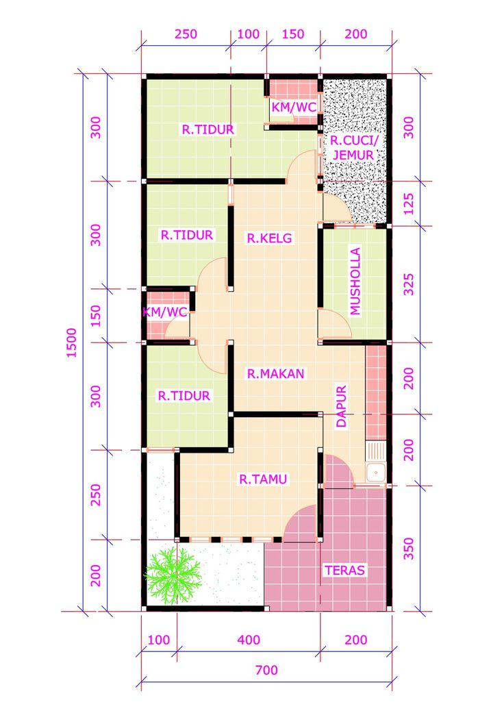 Denah rumah 3 kamar tidur 1 mushola minimalis sederhana dengan beberapa ide tata…