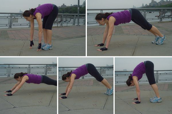 Stacy Berman's new #moms #workout tips for the Centitpede  Targets the #core muscles, hamstrings & upper body  Start position: Start in a standing position. Bend forward, keeping your legs straight, and place your hands on the floor in front of you.  Movement: Walk your hands as far forward as you can, keeping your abdominals tight. Then tip-toe your feet towards your hands. Stand & repeat.  *Keep your legs straight so you feel a stretch in your hamstrings