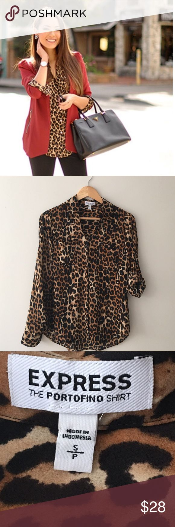 NWOT. Express Portofino Leopard Blouse The Portofino Blouse in leopard print by Express. Convertible sleeves. Button front. Size S/P. Express Tops Button Down Shirts