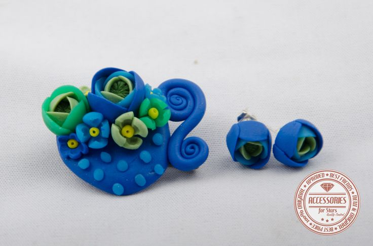 http://accessoriesforstars.blogspot.ro/2015/01/set-royal-blue-cup-of-tea.html #cupoftea #cup #tea #blue #green #flowers #ranunculus #brooches #earrings #sets #accessoriesforstars #vintage #doods #little #royalblue #sweet #gradient