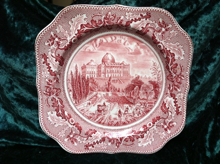 Johnson Bros. Historic America Square Salad Plate - Pink Red Transferware $10