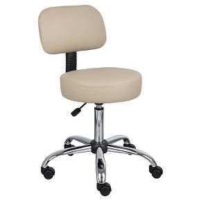Set up your medical practice with the Beige Caressoft Medical Stool with Back Cushion. This stool has a comfortable padded seat and back with adjustable height. The wheels make it perfect for an exam room or lab. Sleek and classic, this beige and chrome office stool will easily match the rest of you décor.
