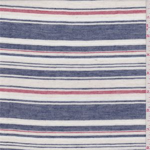 White, navy blue and red yarn dyed horizontal stripe. A lightweight 100% cotton fabric with a twill weave. This fabric has a very soft feel/hand with a good drape.Suitable for casual and button up shirts. Machine washable.Compare to $12.00/yd