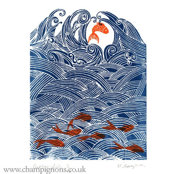 seven fish for luck. Authentic hand pulled display screen print