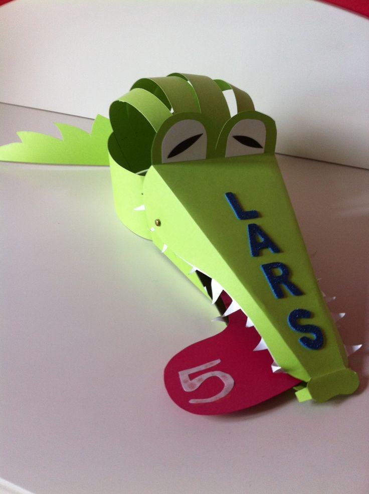 DIY krokodillen verjaardagshoed