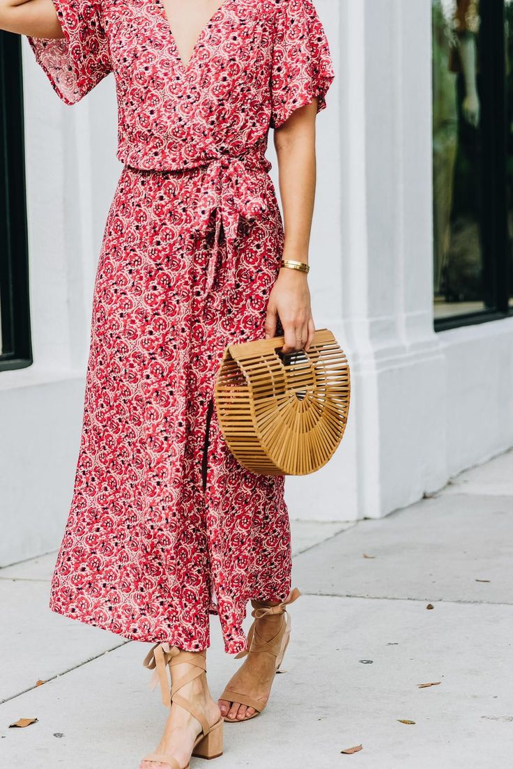 Feminine and floaty spring dress paired with the perfect accessories
