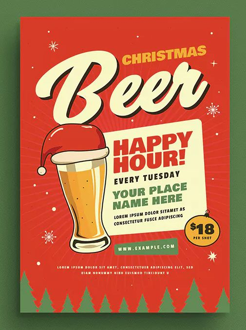 Retro Christmas Beer Party Flyer Template AI, PSD - CMYK 300 DPI