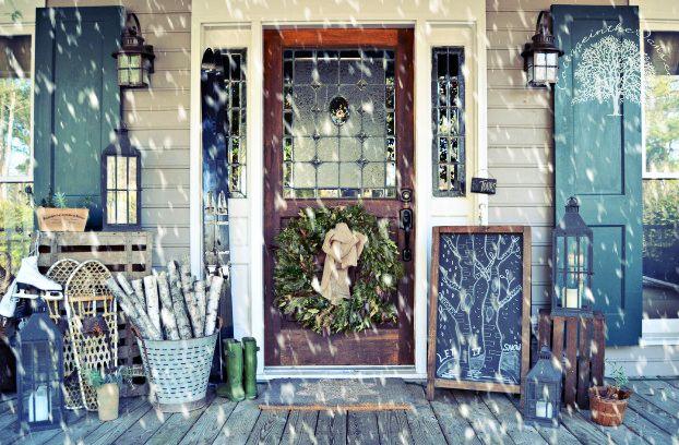 Cottage Winter Front Porch