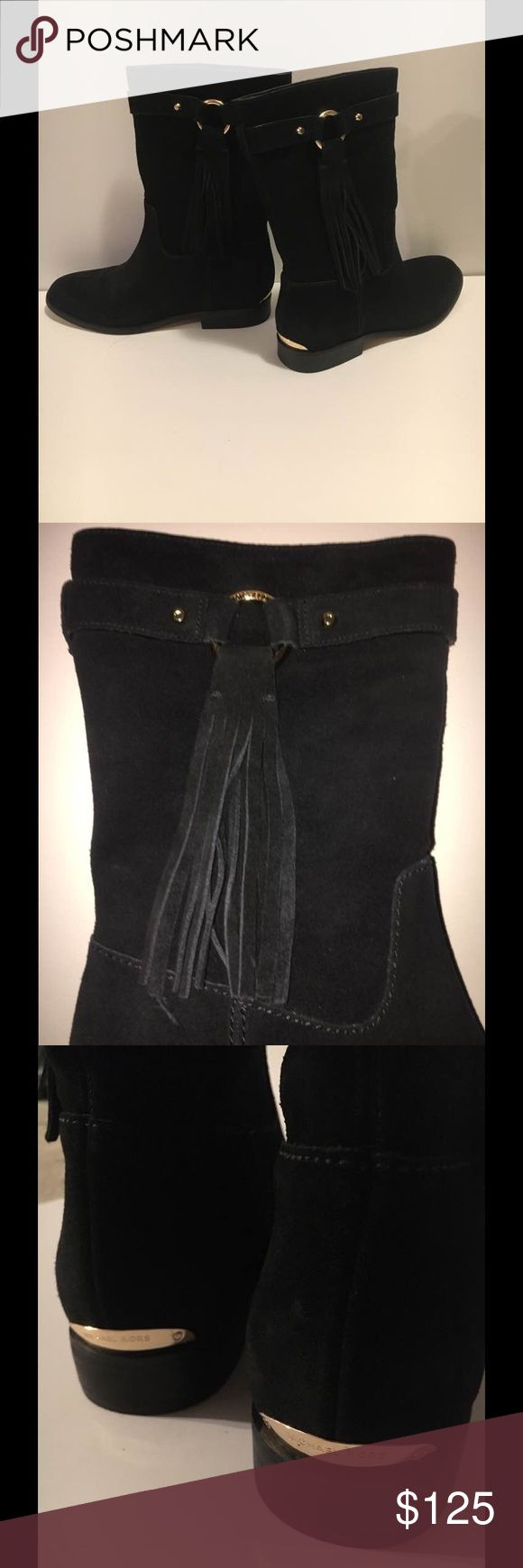 👢MIchael Michael Kors 👢Black Suede Boots 👢 Michael Kors Rhea black suede boot with gold hardware and tassel. Excellent condition! wore once, twice at the most. You can see details when picture is enlarged MICHAEL Michael Kors Shoes Ankle Boots & Booties