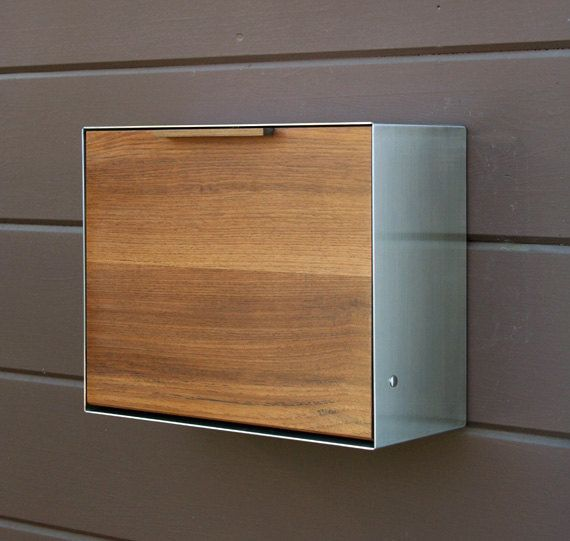 Modern Mailbox Large Walnut and Stainless Steel door CeCeWorks