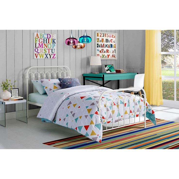 Twin Metal Bed 9 By Novogratz Bright Pop White Bedroom Furniture Headboard New
