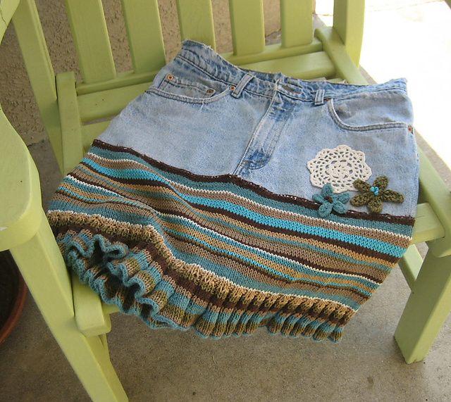 Falda con jeans y jersey